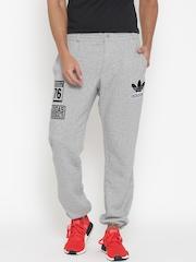 Adidas Grey Melange Logo Track Pants