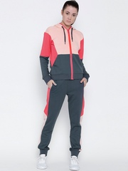 Adidas Grey & Pink Young CO Colourblocked Hooded Tracksuit
