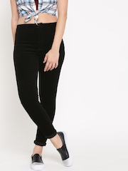 FOREVER 21 Women Black Solid Corduroy Casual Trousers