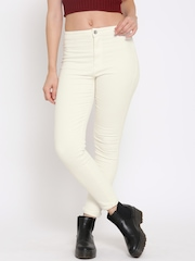 FOREVER 21 Women Off-White Solid Corduroy Casual Trousers