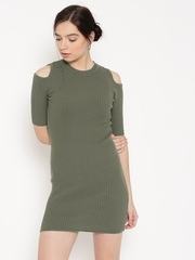 FOREVER 21 Women Olive Green Ribbed Cold Shoulder Bodycon Dress