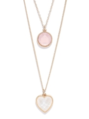 FOREVER 21 Gold-Toned Stone-Studded Layered Necklace