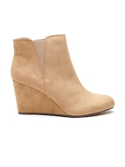 FOREVER 21 Women Beige Heeled Boots