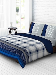 Tangerine White & Blue 210 TC Fine Cotton Double Bedsheet with 2 Pillow Covers