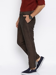 Lombard Men Brown Solid Slim Fit Casual Trousers