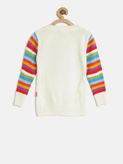 Wingsfield Girls Off-White Heart Print Sweater