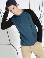 Ecko Unltd Men Blue Colourblocked Henley T-Shirt