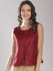 Fabindia Maroon Waistcoat