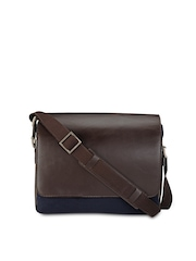 Phive Rivers Men Navy & Brown Leather Messenger Bag