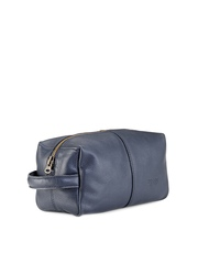 Phive Rivers Men Navy Textured Leather Toiletry Pouch