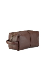 Phive Rivers Men Brown Textured Leather Toiletry Pouch