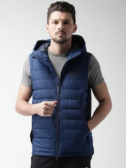 Nike Blue Quilted NSW Sleeveless Hooded Jacket