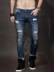 Roadster Blue Mid-Rise Mildly Distressed Jeans