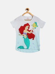 Disney by Kidsville Girls White Printed T-Shirt