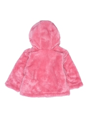 mothercare Infant Girls Pink Faux Fur Hooded Sweatshirt
