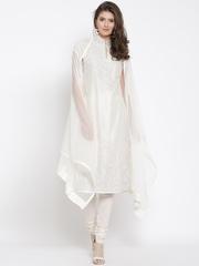 Biba by Rohit Bal Off-White Dori Embroidered Churidar Kurta with Dupatta