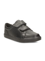Clarks Boys Black Solid Leather Casual Shoes