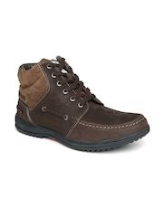 Lee Cooper Men Brown Solid Mid-Top Casual Shoes