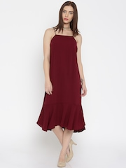 AND by Anita Dongre Women Burgundy Solid Midi Dress