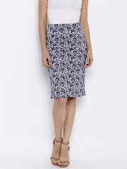 AND by Anita Dongre Blue & White Printed Skirt