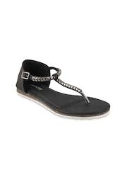Mochi Women Black Solid Flats