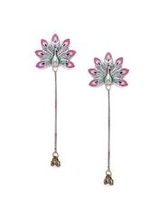 Studio Voylla Kutch Pink & Green Silver-Plated Drop Earrings