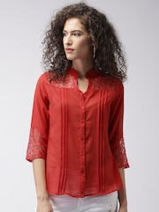 Moda Rapido Women Red Lace Top