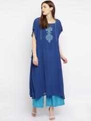 Global Desi Blue Embroidered  & Printed Kurta & Palazzo Trousers