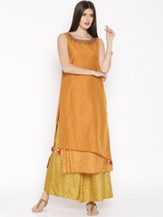 Global Desi Orange & Mustard Yellow Layered Kurta Set