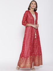 Global Desi Women Maroon & Off-White Printed A-Line Kurta with Ethnic Jacket