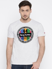 Being Human Men Grey Melange Printed Round Neck T-Shirt
