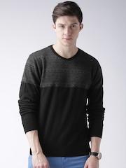 Moda Rapido Men Black & Grey Self-Design Sweater