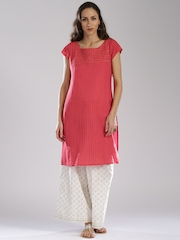 Fabindia Women Pink Solid Straight Kurta