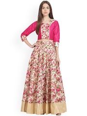 Nayo Off-White & Pink Floral Print Clothing Set