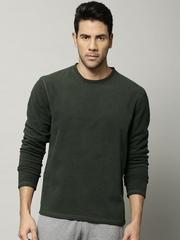 Marks & Spencer Men Olive Green Stay New Fleece Thermal T-shirt 2403M