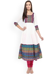 Libas Women Off-white Yoke Design Anarkali Kurta