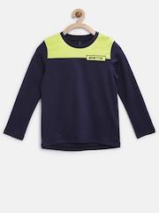 United Colors of Benetton Boys Navy Colourblocked Round Neck T-Shirt