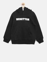 United Colors of Benetton Boys Black Hooded Sweatshirt