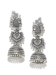FIROZA Oxidised Silver-Toned Jhumka Earrings