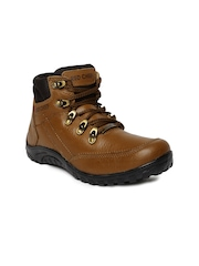 Red Chief Men Tan Solid High-Top Trekking Shoes