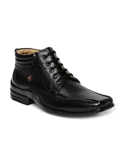 Red Chief Men Black Solid Mid-Top Derby Shoes