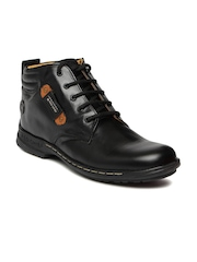 Red Chief Men Black Solid Mid-Top Leather Derby Casual Shoes