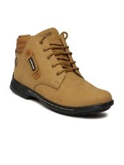 Red Chief Men Brown Solid Mid-Top Leather Derby Casual Shoes