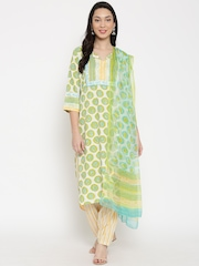Kilol Off-White & Green Printed Salwar Suit with Dupatta