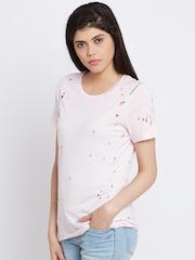 Reebok Women Pink Distressed Round Neck Dance T-Shirt
