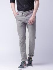 Moda Rapido Men Grey Solid Slim Fit Chino Trousers