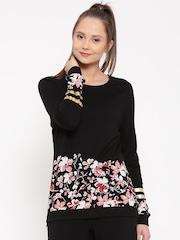 United Colors of Benetton Women Black Floral Print Top