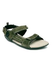Woodland Men Olive Green Suede Leather Sports Sandals