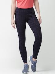 Nike Purple & Black Printed As W Nsw Tights