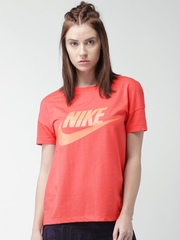 Nike Women Coral Red Printed As W Nsw Signal Logo T-shirt